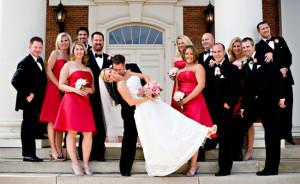 foto noivos com os padrinhos