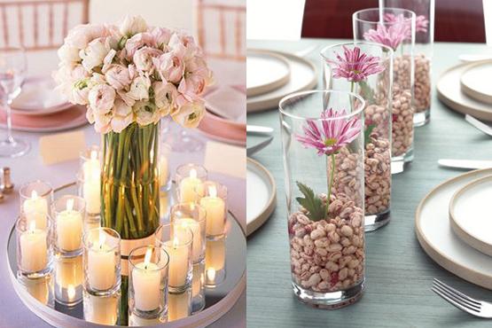 7 idéias diferentes no centro de decoração de mesa de casamento - dicas