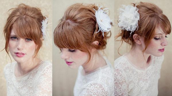 Modelos de penteados - dicas com franjas para noivas
