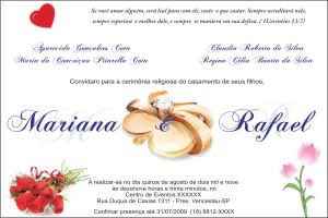 exemplo de convite para casamento