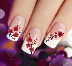 unhas-decoradas-vermelhas-com-flores